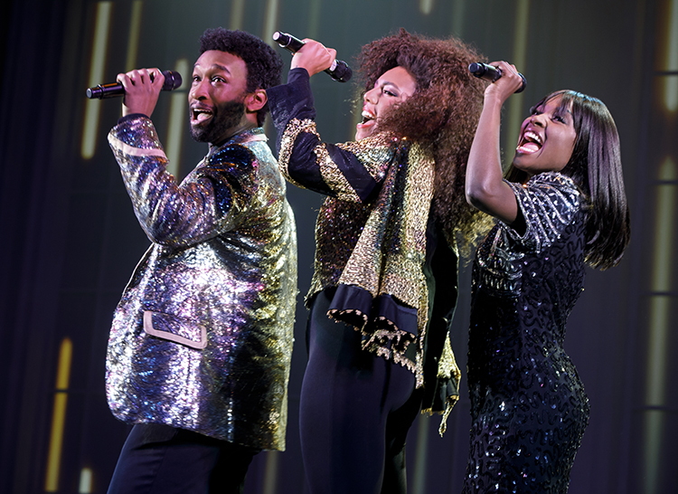 "From left) Donald Webber Jr. as BeBe Winans, Liisi LaFontaine as Whitney Houston, and Loren Lott as CeCe Winans in ""Born For This"" at Emerson Cutler Majestic Theatre through July 15, 2018."