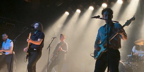 Amber Run -- (from left) Henry Wyeth (keyboards), Joshua Keogh (lead singer), Michael Blackwell (guitar), Tom Sperring (bass), and Glyn Daniels (drums) -- perform during a tour stop at Warsaw in Brooklyn, N.Y., on Nov. 2, 2019.