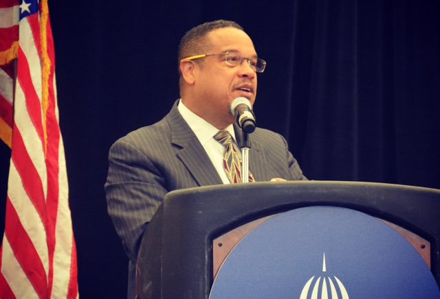 Keith Ellison, a US Representative for Minnesota, spoke at the closing day of the National Conference of State Legislators' 2017 Legislative Summit at Boston Convention Center in August.