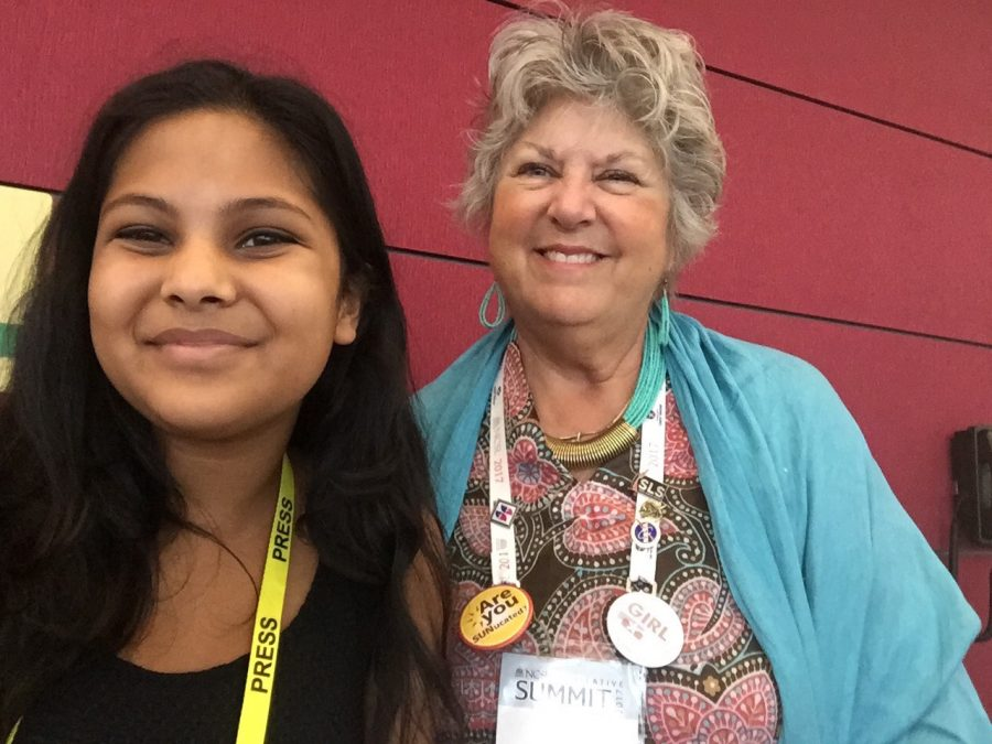 Nancy Todd (right), a state Senator from Colorado, poses with a reporter at the National Conference of State Legislators' 2017 Legislative Summit at Boston Convention Center in August.