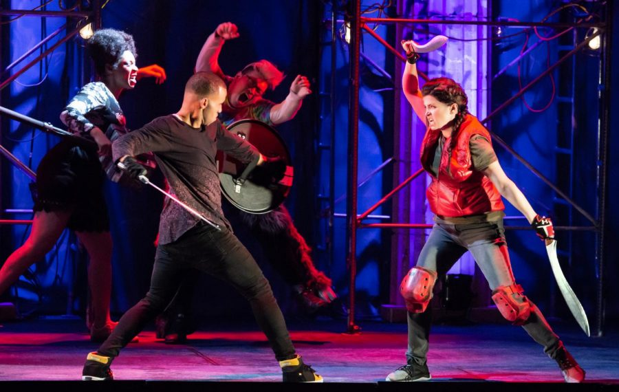 "Sword play is just a part of ""The Lightning Thief: The Percy Jackson Musical"" at the Huntington Theatre through July 28, 2019."