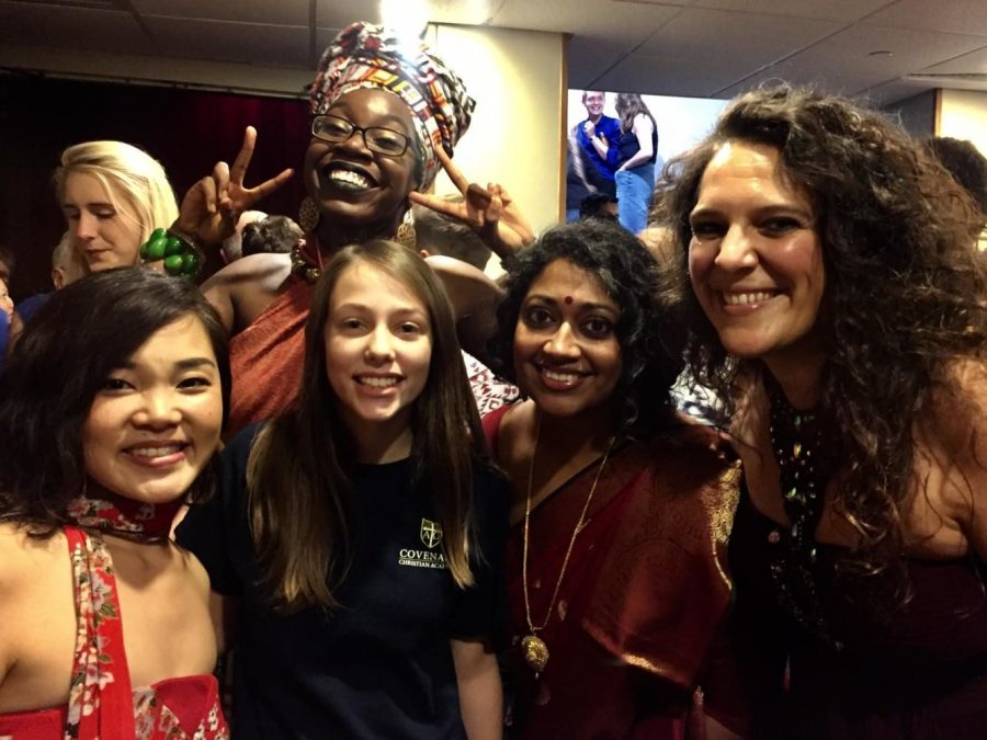 The a cappella group Women of the World -- Ayumi Ueda (left), Deborah Pierre (back row), Annette Philip (second from right), and Giorgia Renosto (right) -- pose with a reporter at the A Cappella Open national semifinals at Berklee Performance Center on July 29, 2017.