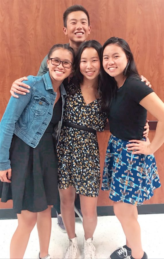 Zoe Ma, Leilah Lui, Taylor Lui, and Ethan Ma pose at the Dougherty Valley High School swim banquet.