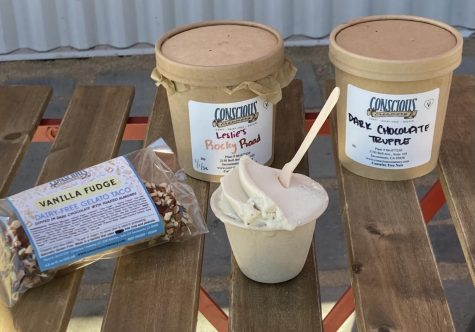 Ice cream from Conscious Creamery in Sacramento, Calif. On the far left is the Vanilla Fudge Gelato Taco, in the small cup is Vanilla Bean, and behind them are pints of Dark Chocolate Truffle and Leslie