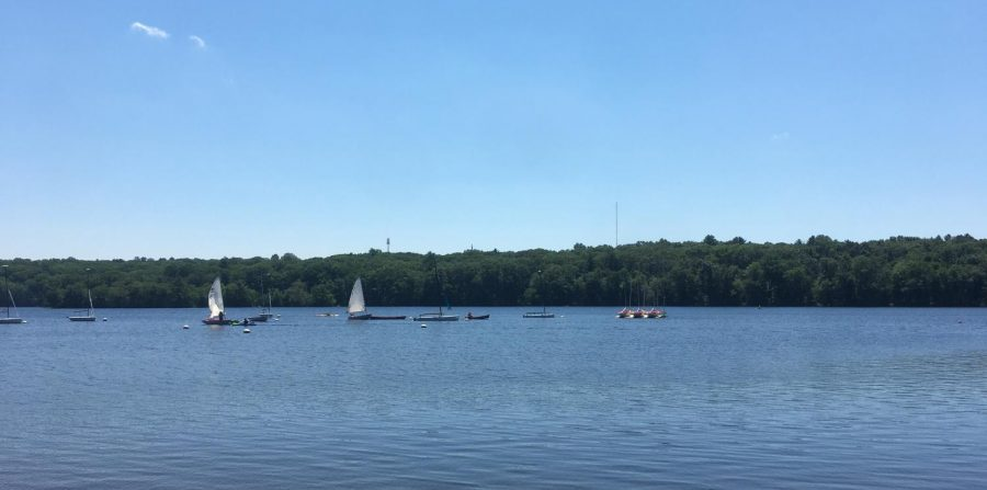 Sailboats make the most of a perfect summer at the reservoir inside Hopkinton (Mass.) State Park.