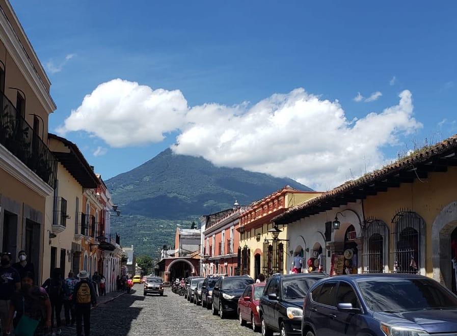 The Aqua volcano adds a breathtaking backdrop to picturesque Antigua, Guatemala.